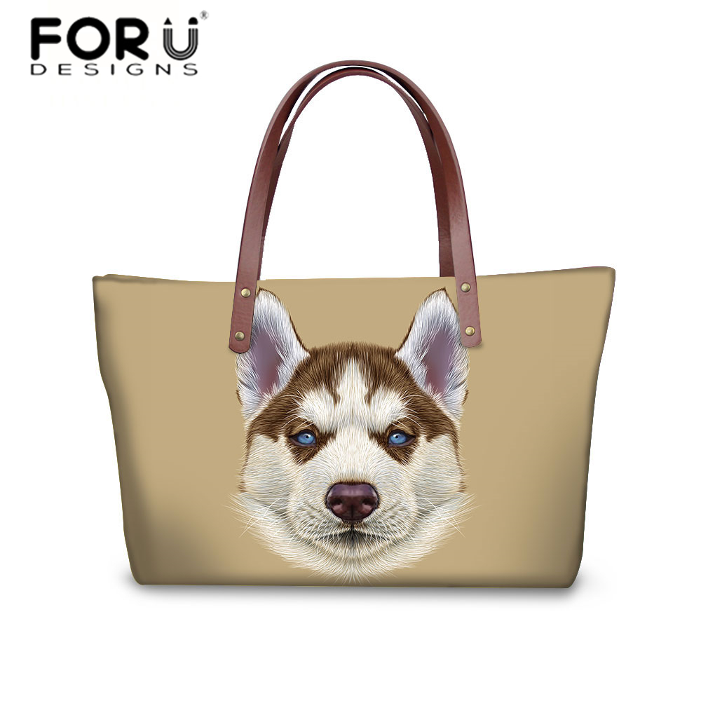 FORUDESIGNS Shoulder Bag Women Casual Handbag Tote Husky Cat Prints Crossbody Bags for Ladies Large Capacity Messenger Bag Bolsa women canvas messenger bags female crossbody bags solid shoulder bag fashion casual designer handbag large capacity tote gifts