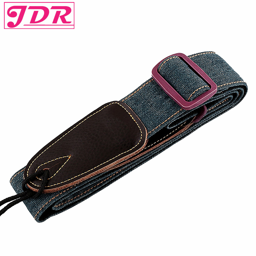 JDR Guitar Strap Polyester Wide Personality with Leather End for Bass Guitar & Electric Guitar Deep Green 8pcs cylinder clip end pin mono panel output jack socket for electric guitar bass 6 35mm