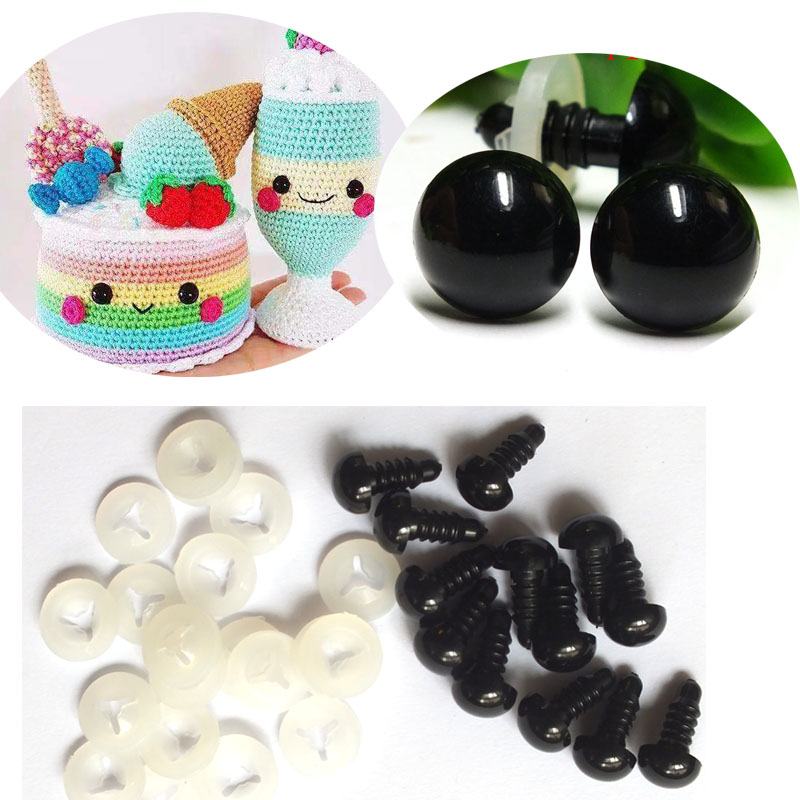 High-quality-30pcs Black Eyes/ Safety Eyes With White  Washers  Fit For Teddy Bear-5-18mm