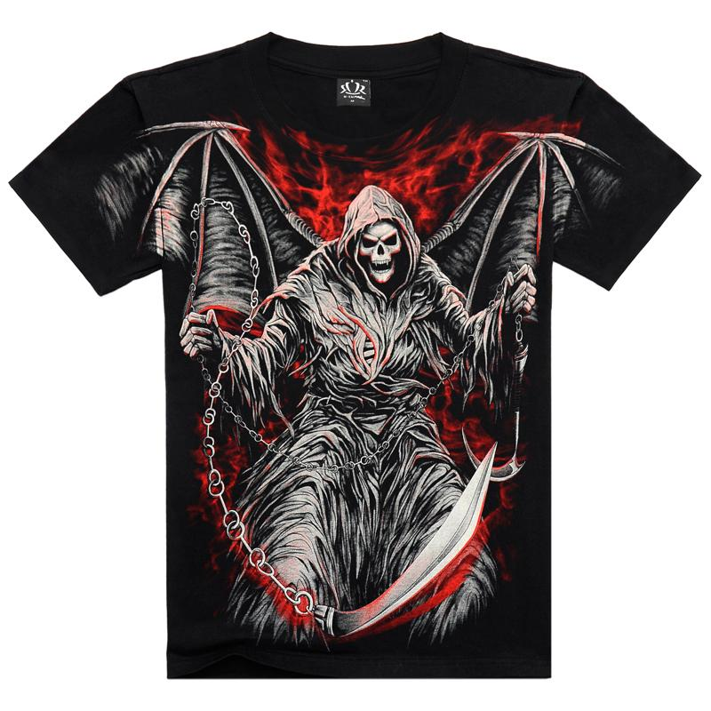 Férfi pólók Divat új nyár férfiak pamut rövid ujjú póló alkalmi 3d nyomtatás rock póló férfi teljes nyomtatott
