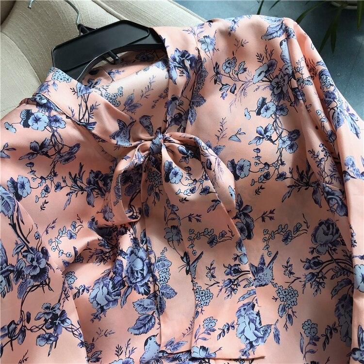 Imprimé Femmes Manches Vêtements Blouses Élégant En Soie Chemisier Ol Chic De Travail Longues Floral Femelle Décontracté 100 Naturelle À Vintage 8PFqwUx8