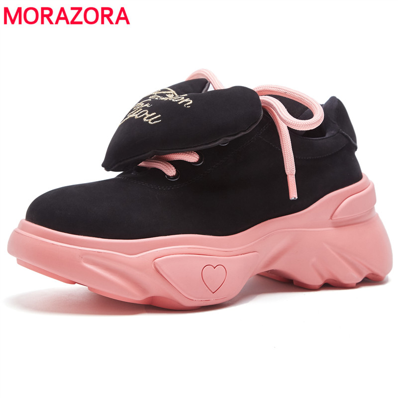 MORAZORA 2018 big size 35-42 black ankle boots for women lace up genuine leather boots autumn casual platform shoes woman sarairis new big size 35 41 women s cow leather black wide high heel 6cm lace up shoes woman casual autumn winter ankle boots