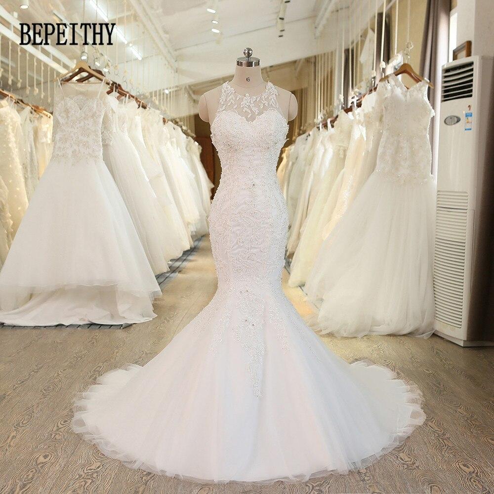 BEPEITHY 2017 Robe De Mariage Vestido De Novia Sexy Halter Mermaid Wedding Dress Criss Cross Back Beadings New Bridal Dresses