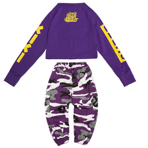 Image 5 - Girls Jazz Dance Costumes Hip Hop Suit Long Sleeve Children Kids Street Dancing Clothes Performance Show Out Clothing 120 180