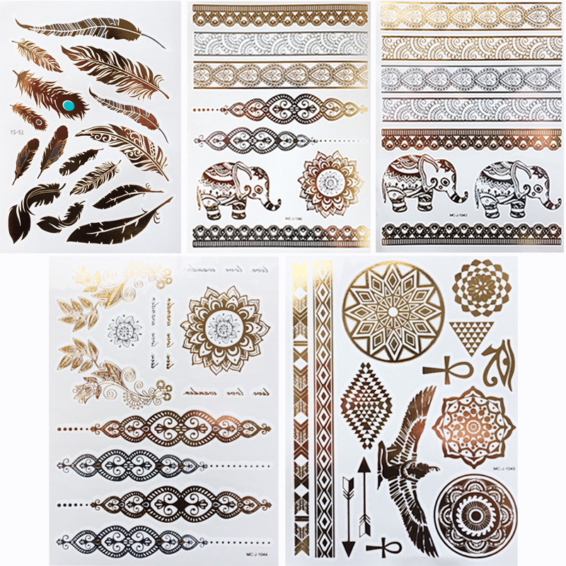 5st / lot Vattentät Tillfällig Tattoo Kvinnor Henna Body Arm Art Fake Flash Tatoos Guld Silver Metallic Tatoo Stickers
