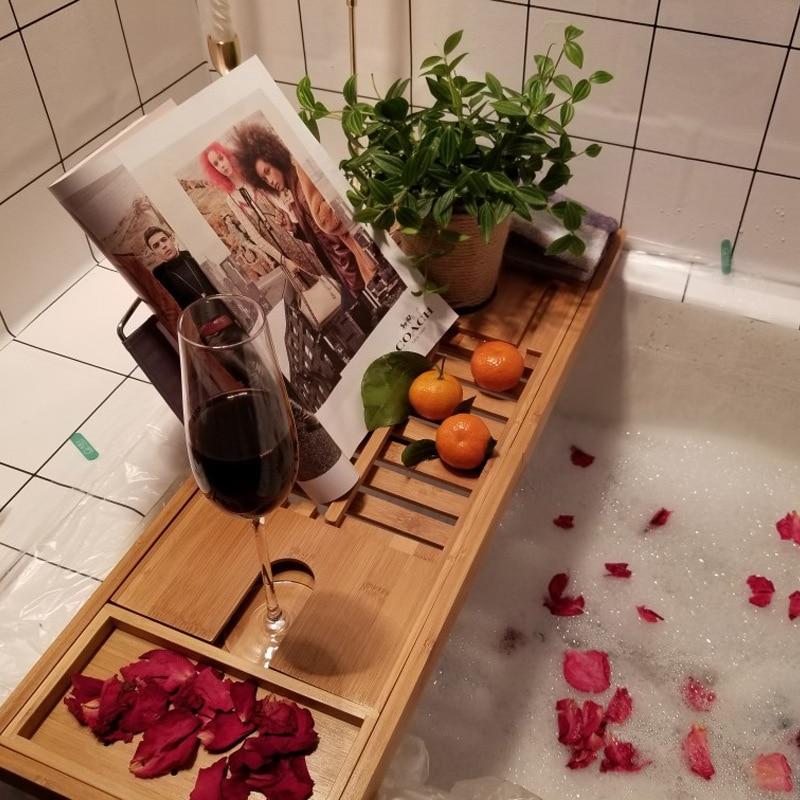 Plateau de baignoire douche verre à vin Support de livre étagère de bain en bambou Caddy Support de baignoire organisateur de rangement accessoires de salle de bain