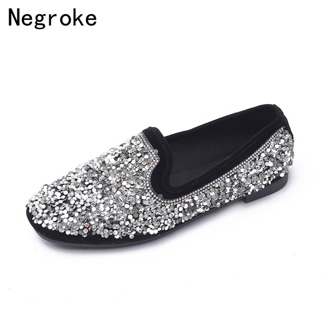 Fashion Spring Autumn Women Shoes Luxury Rhinestone Loafers Black Silver  Sequin Ladies Glitter Shoes Woman Slip On Ballet Flats d6dadfd3c