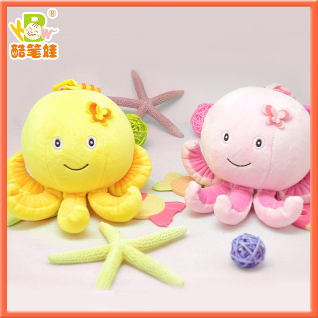 FREE SHIPPING Cute infant toy rattles hanging octopus baby stuffed animals plush rattle bed bells toys 2colors/lot