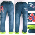 Boys Warmed Jeans letters red print Children Winter Denim trousers Teens 6-9 Year  fleece Pants new megging Kids sarouel MH 9288