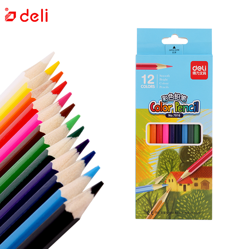 Deli Colored Pencil Safe Non-toxic Professional Color Pencil Set For Painting Drawing School Stationery 12/18/24/36 Pcs/Set image