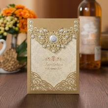 50pcs/lot New Arrival Vertical Laser Cut Wedding Anniversary Invitation with Envelope Hollow Flora Cards