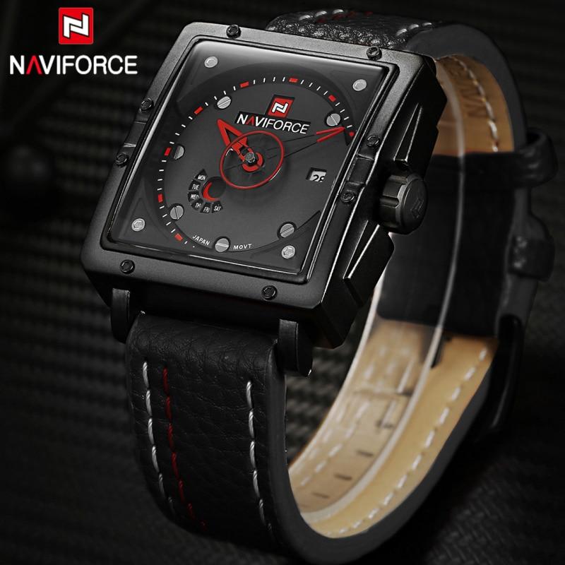 NAVIFORCE Genuine Leather Watch Men Luxury Brand Quartz Watch Analog Display Date military Watch Men Watches Relogio Feminino naviforce new genuine leather watch men