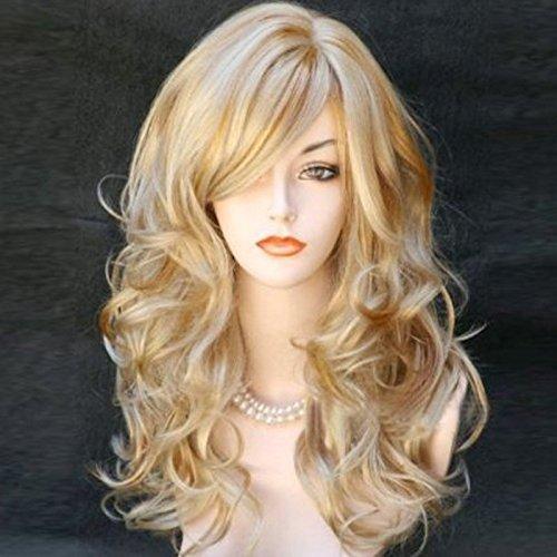 Harajuku Peruca Cosplay Mulheres Do Partido Moda Longo Ondulado Curly Traje Peruca Pelucas Cabelo Sintético Perucas Loiras Sensuais Feminino
