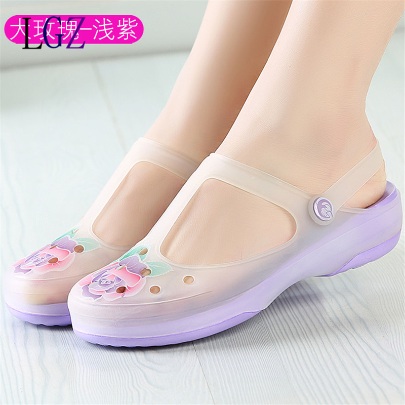 2017 New Style Woman Summer Change Color Sandals Big flower croc Hollow Beach Shoe Leisure Girls Jelly Female Garden Shoes Brand