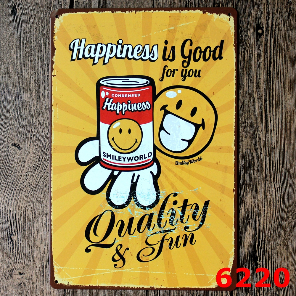 Happiness is Good for you Metal Painting Wall Bar Home Art Decor ...
