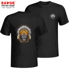 I Am An Indian Chief Monkey T-shirt Pop Casual Anime T Shirt Punk Funny Skate Women Men Cotton Double Sided Black Top цена 2017