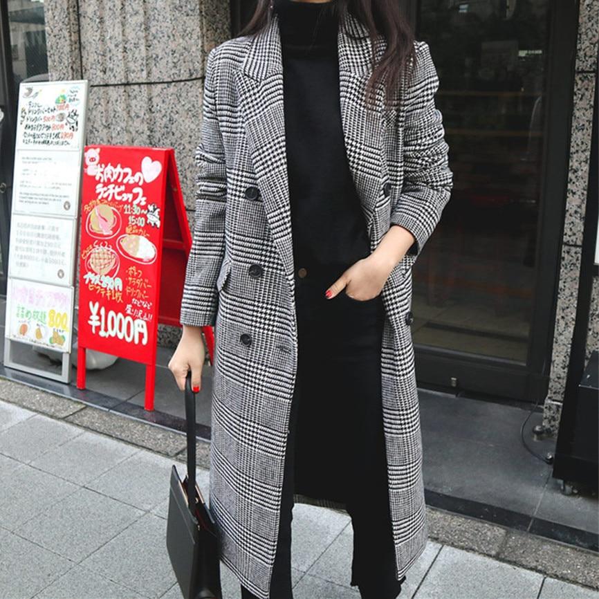 2019 primavera otoño mujer abrigo a cuadros nueva moda abrigo largo de lana delgado tipo femenino chaquetas de invierno ropa exterior femenina-in Lana y mezclas from Ropa de mujer    1