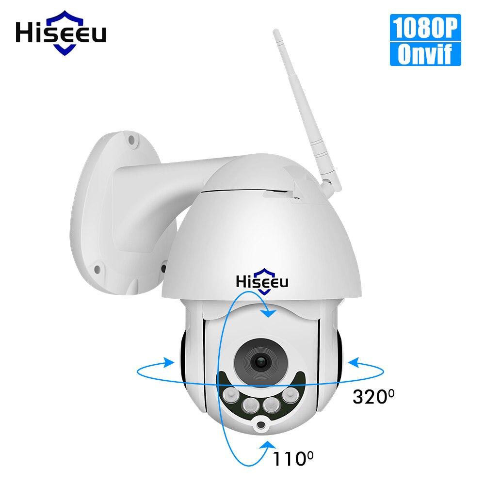 Hiseeu ptz wifi ip dome câmera 1080 p ao ar livre à prova d2água 2mp câmera de velocidade segurança tf cartão sem fio ip cam app visão