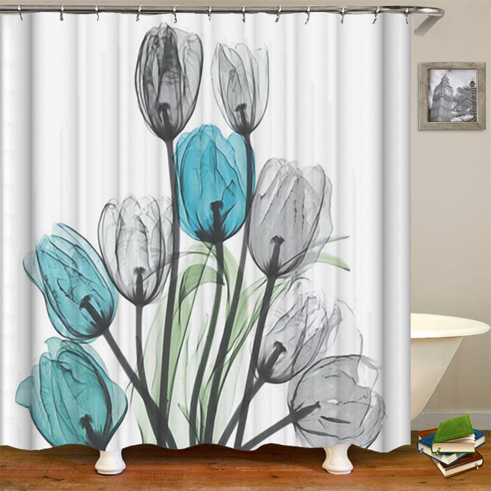 Us 12 99 Shower Curtain Fl Bath Fabric Curtains Home Decorations For Bathroom White Blue Grey Tulip Flower In
