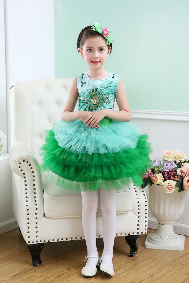 Пышное платье принцессы для девочек; вечерние костюмы для бальных танцев; одежда для выступлений в студенческом хоре; одежда с блестками; юбка из плотной пряжи - Цвет: Зеленый