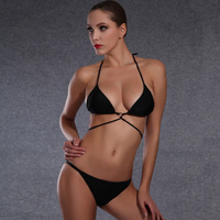 Women S Sexy Brazilian Bikini Mini Black Bandage Swimming Suit For Women Strappy Padded Halter Swimwear