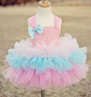 Khá Hồng Appliques Flower Cô Gái Váy Spaghetti cupcake Trẻ Em Mặc sinh nhật tutu cô gái pageant dresses