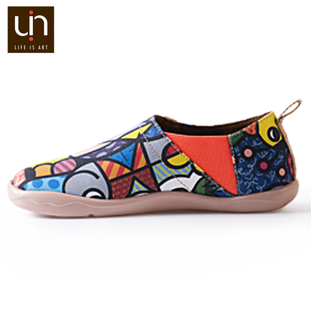 Image 5 - UIN Charming Cat Painted Canvas Women Flats Colorful Art Shoes Ladies Round Toe Slip on Loafers Outdoor Walking Comfort Shoes-in Women's Flats from Shoes