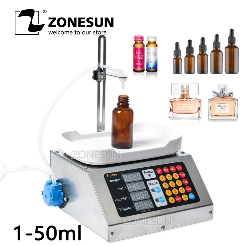 ZONESUN 0-50ml Small Automatic CNC Liquid Filling Machine 110V-220V Perfume Weighing Filling Machine Oral Liquid Solution Filler applicatori di etichette manuali