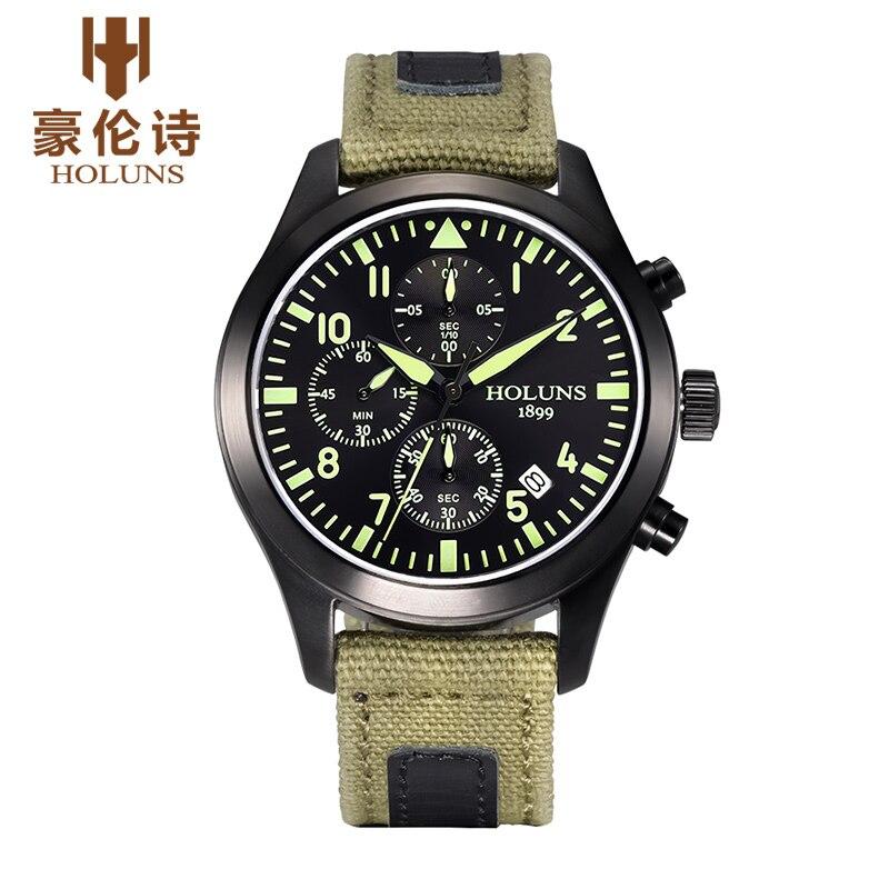 HOLUNS Men Chronograph Luminous Watch Sport Canvas Quartz-Watch Daily Waterproof Clock Date Men's Wrist Watch relogio masculino