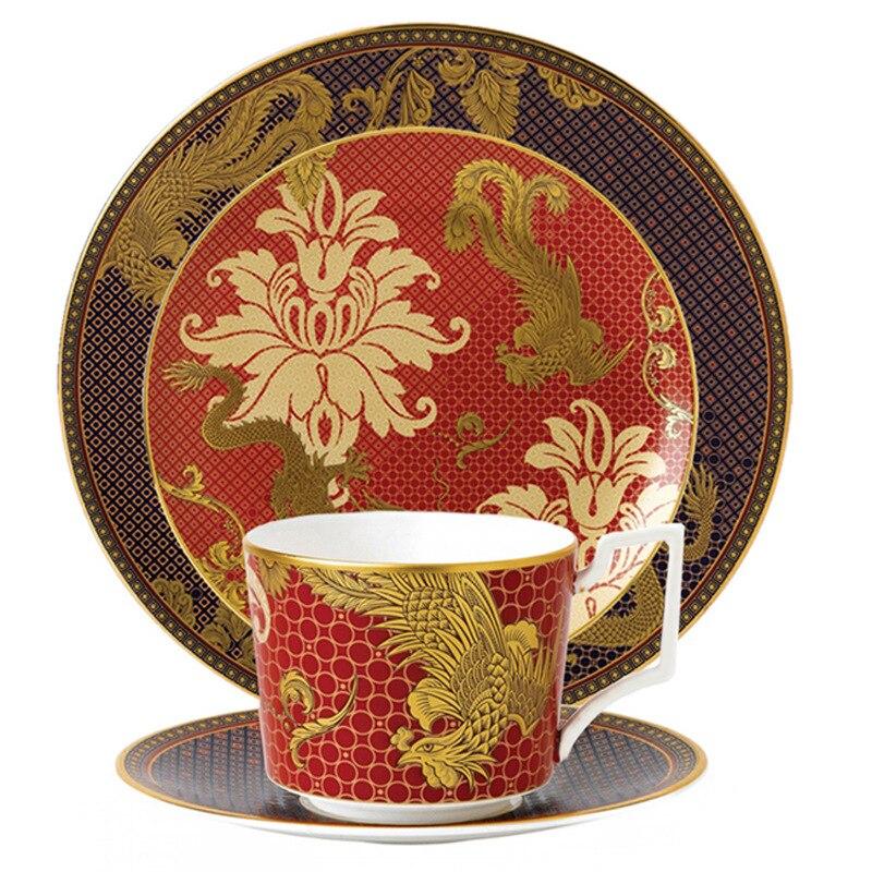Assiette en porcelaine classique | Assiette à Snack, tasse à café, plat de Restaurant modèle chambre os chine décoration douce