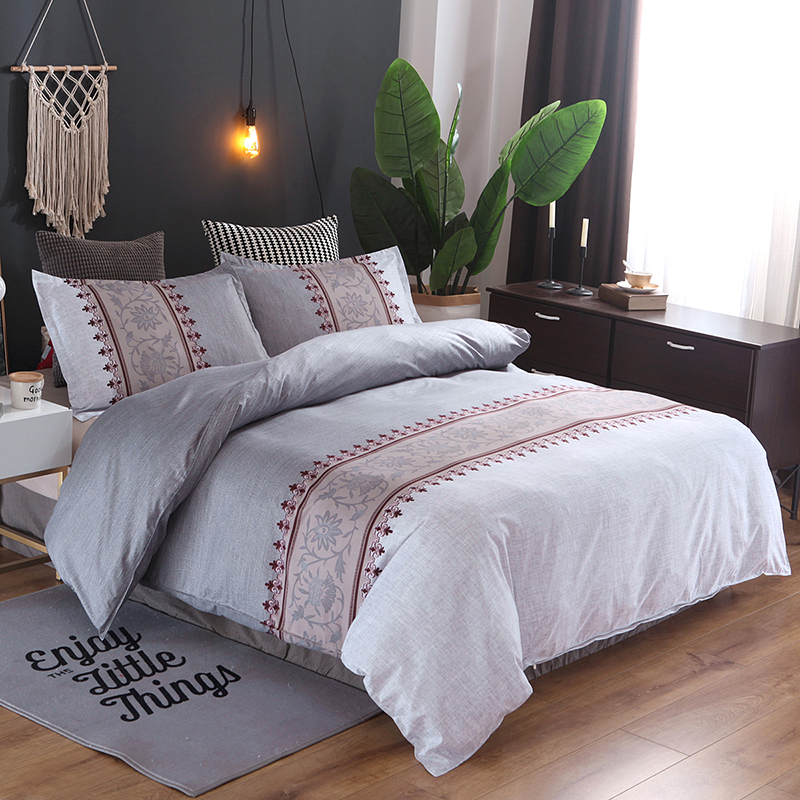 Bedding simple plain fabric quilt Cover pillowcase No sheet Set Bell orchid European polyester fiber home textile Large size