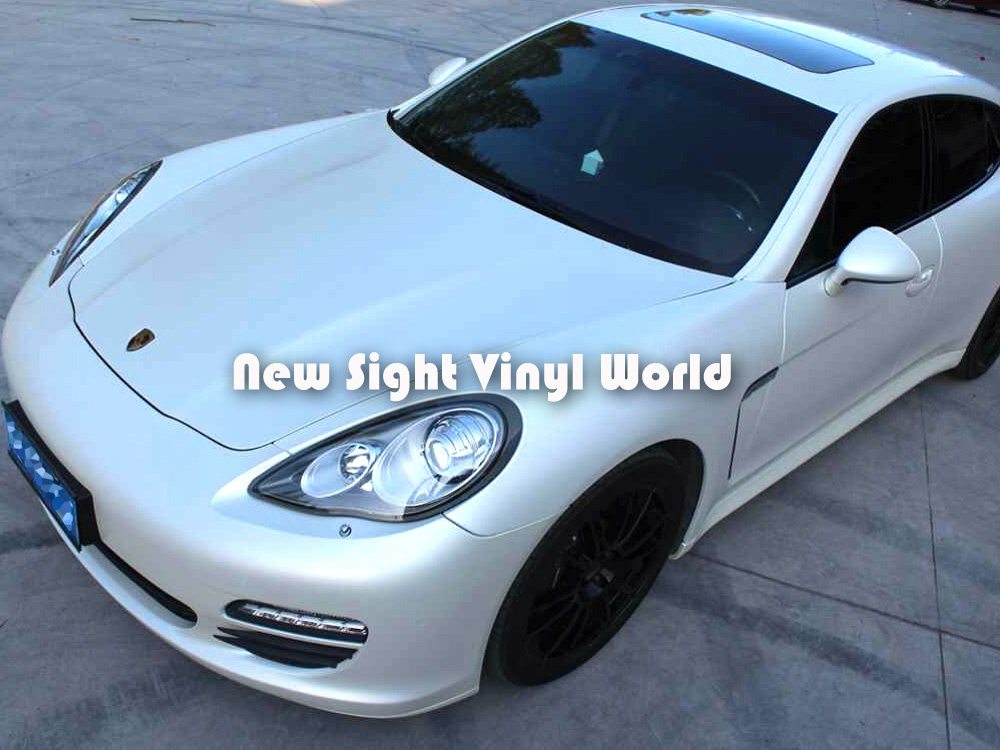 Premium Satin Pearl White Car Wrap White Satin Pearl Vinyl Roll Air Free Bubble Car Wrapping Film Foil