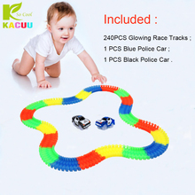 240pcs Track +2 Cars Glow in the dark 7.5CM Girls Boys Plastic Racing Track Toys For Children Gifts