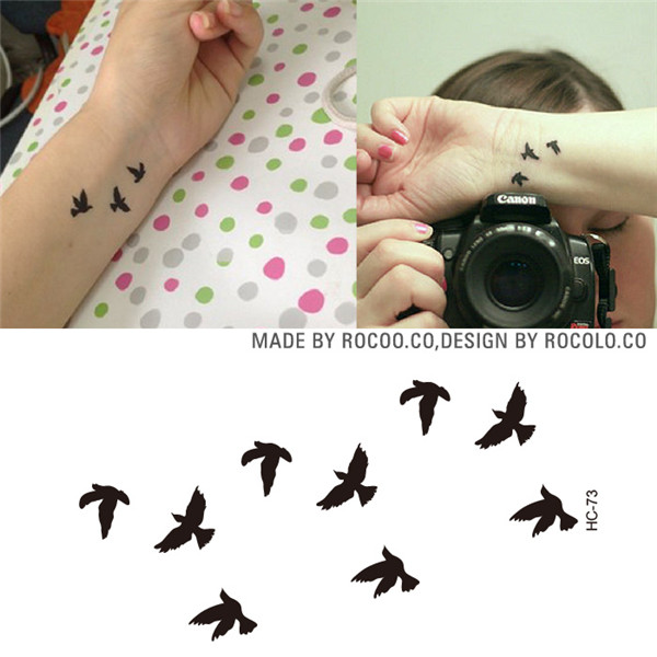10 PCS 1 Lot Fashion Men And Women Tattoo Lovely butterfly diamond Bird Owl Body Art Flash Waterproof Temporary Tattoos Stickers 10