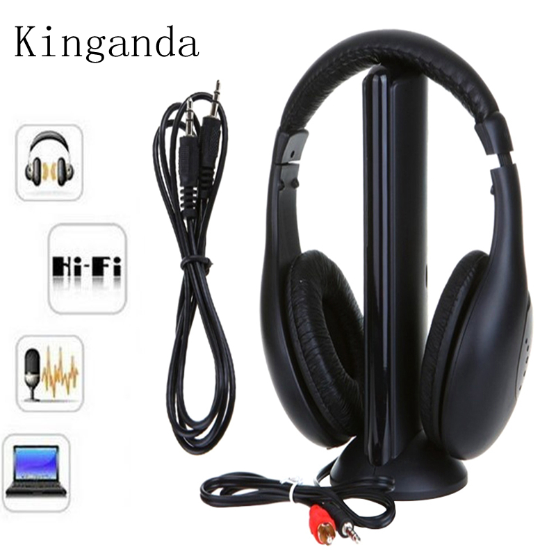 5 In 1 Wireless Stereo Headphone Transmitter FM Radio Headphone Wireless Monitoring With Stand Built-in Microphone Earphones niorfnio portable 0 6w fm transmitter mp3 broadcast radio transmitter for car meeting tour guide y4409b