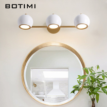 BOTIMI Modern LED Wall Lamp With White Lampshades Adjustable Reading Bedroom Sconce Black Metal Mirror Lights