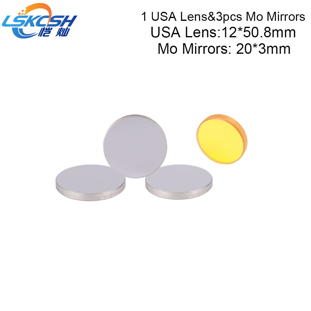 LSKCSH 1Pcs USA lens Diameter 12mm focal length 50.8mm and 3pcs Mo mirrors 20mm for 3020 K40 Co2 laser stamp Engraving machines LSKCSH 1Pcs USA lens Diameter 12mm focal length 50.8mm and 3pcs Mo mirrors 20mm for 3020 K40 Co2 laser stamp Engraving machines
