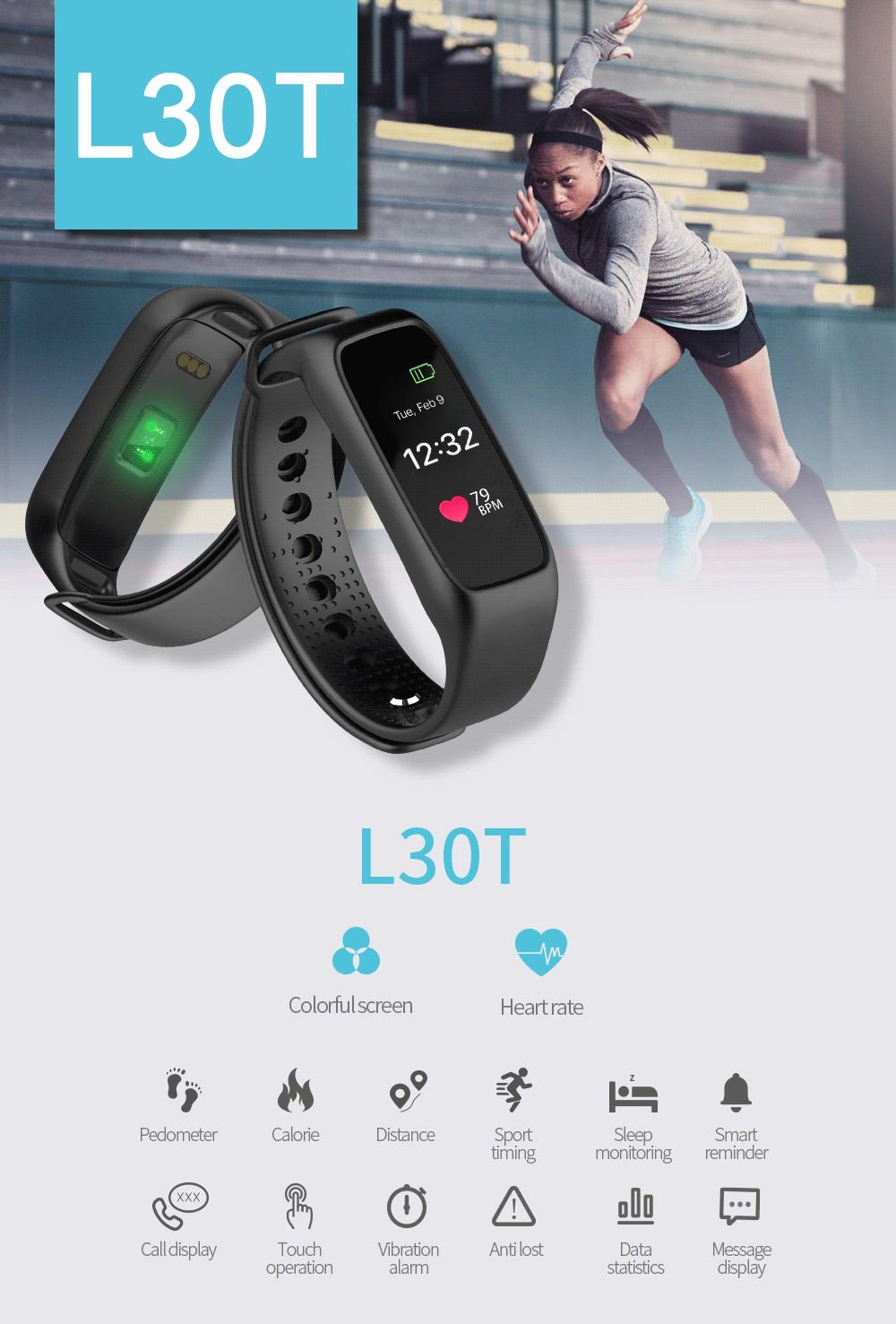 Lemfo l30t kolorowy ekran inteligentny zespół pulsometr krokomierz uśpienia fitness tracker dla andriod ios telefon 1