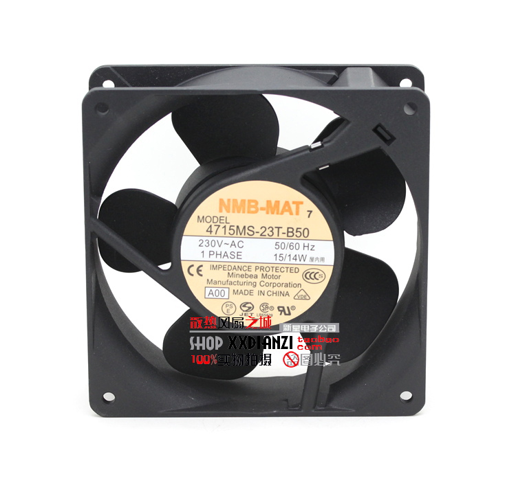 NMB-MAT 4715MS-23T-B50 A00 AC 230V 15W 120x120x38mm Server Square Fan nmb mat 5915pc 12t b30 a00 dc 115v 35a 2 piece 150x172x38mm server round fan