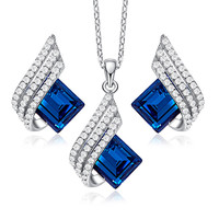 HeeZen Elegant Jewelry Sets Blue Chic Necklace Set Silver Square Shape Pendant Necklace & Earrings Anniversary Gifts for Women