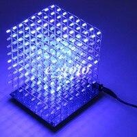 8x8x8 3D LED LightSquared FAI DA TE Kit LED Bianco Blu Ray 3mm Cubo LED Elettronico Suite 5 V alimentazione