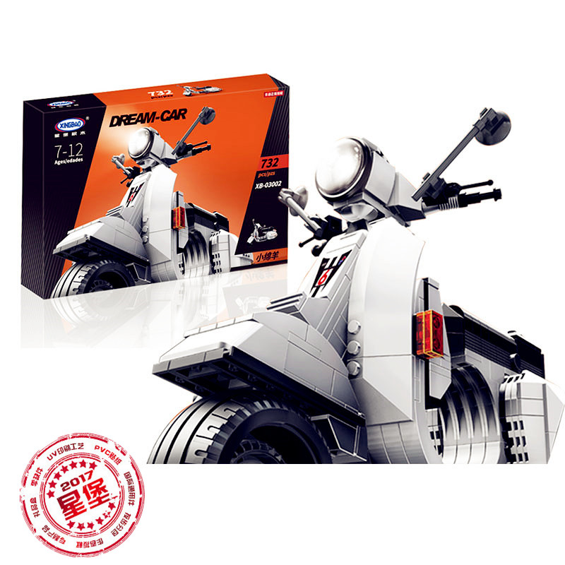 Finns i lager XingBao 03002 732Pcs Original Creative Technic Classic Series Vespa P200 Moto Byggstenar Tegelsten Modell