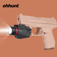 ohhunt Tactical Led Flashlight and Red Laser Sight Combo White Light 150 Lumens Picatinny Rail Mount for Hunting Pistols