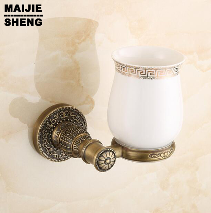 Toothbrush Cup Holder Bathroom Accessory Sanitary Ware Bathroom Furniture Toilet Brass Antique Single Tumbler Cup Holder