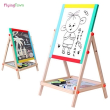 children sketchpad work the blackboard magnetic double wooden panel Graffiti drawing board toys learning education