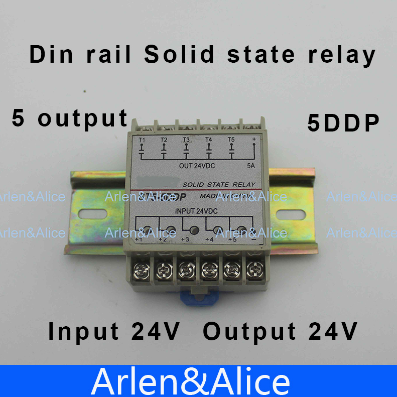 цена на 5DDP 5 Channel Din rail SSR quintuplicate five input output 24VDC single phase DC solid state relay