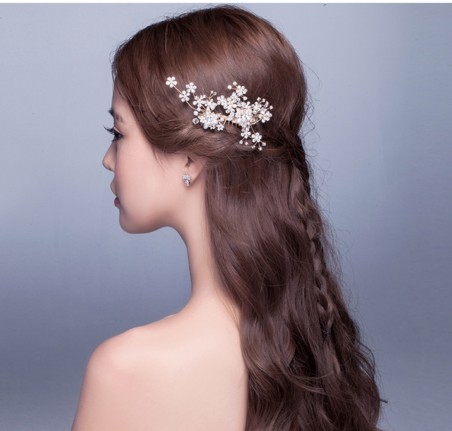 2016 Gold Bridal Accessories Pearls Beads Crystal Real Image Hair-Fascinators Wedding Accessories Sexy