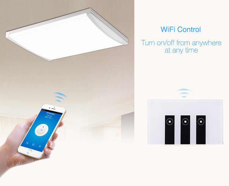 Interruptor de luz de pared US 4 gang para hogar inteligente eWelink App Control Panel de vidrio Touch Alexa Echo compatible