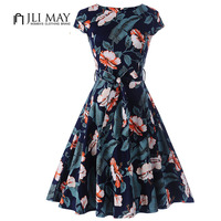 JLI MAY Cotton Retro Summer Dress Vintage 50s 60s Print Floral Pinup Cap Sleeve Belted A