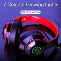 Auriculares inalámbricos Bluetooth, auriculares estéreo de alta fidelidad, bajo, luz LED para jugadores con micrófono, auriculares para teléfono